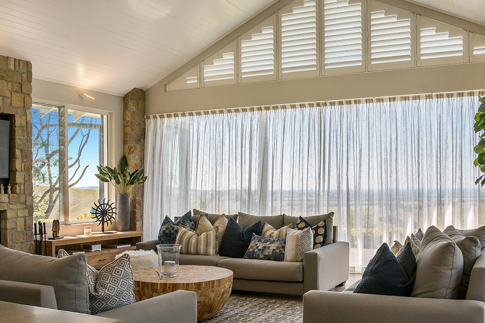 Shaped Plantation Shutters & Drapery – Byron Bay